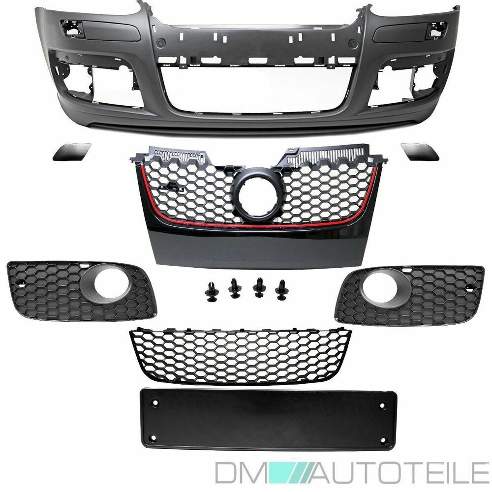 vw golf 5 v pare choc avant grille noire gti grille ferm e nouveaute ebay. Black Bedroom Furniture Sets. Home Design Ideas