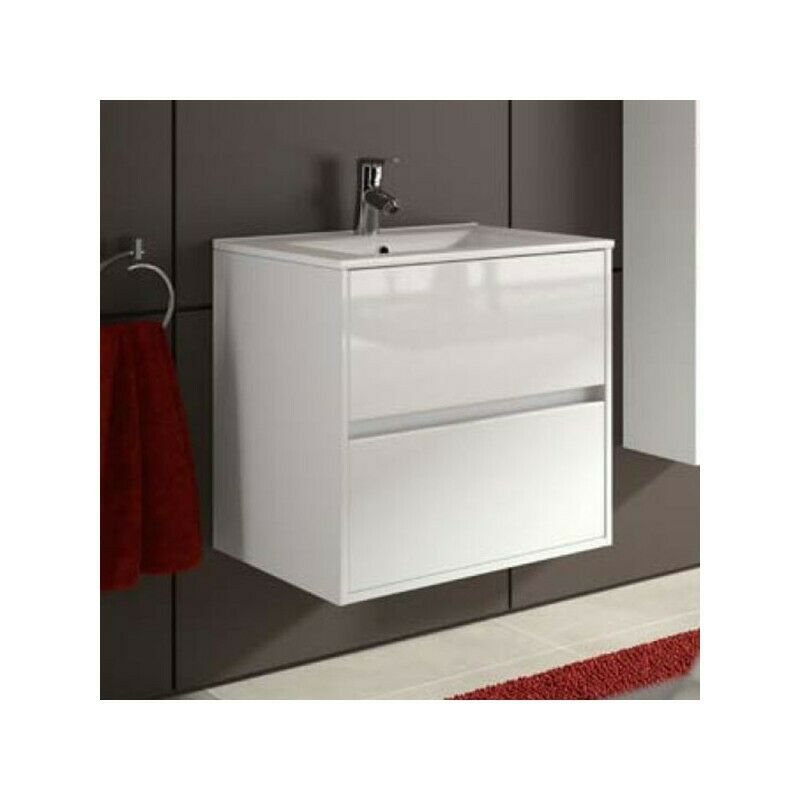 meuble de salle de bain toilette 60 cm suspendu avec evier lavabo vasque blanc ebay. Black Bedroom Furniture Sets. Home Design Ideas
