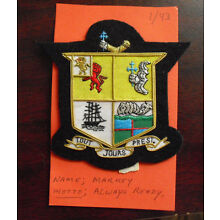 Embroidered Patch Family Crest Coat of Arms Markey with Moto LOOK