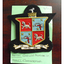 Embroidered Patch Family Crest Coat of Arms Commerford with Moto LOOK