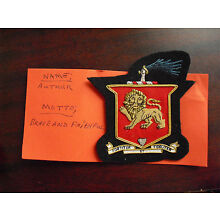Embroidered Patch Family Crest Coat of Arms Arthur with Moto LOOK
