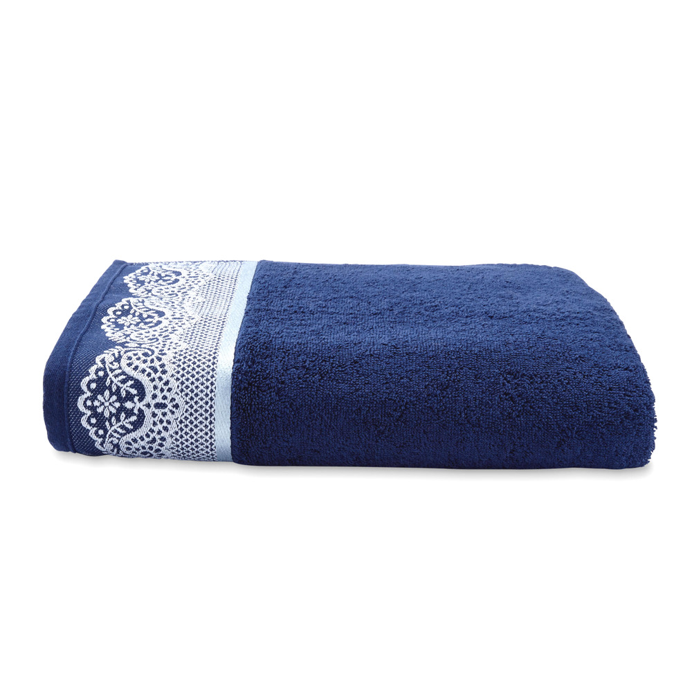Spa Towels By Kassafina: CANNON DARK NAVY BLUE SILVER SCALLOPED LACE