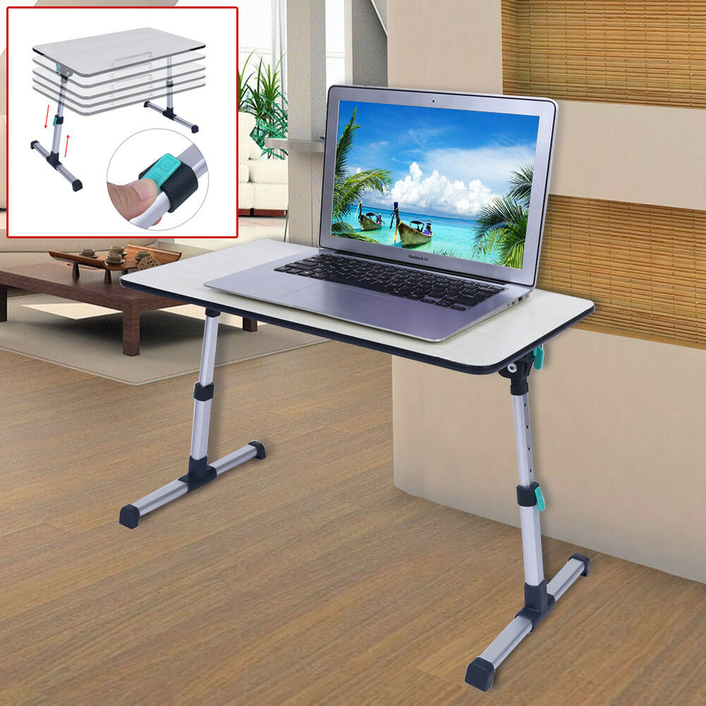 adjustable height laptop stand desk computer table for sofa breakfast bed tray ebay. Black Bedroom Furniture Sets. Home Design Ideas