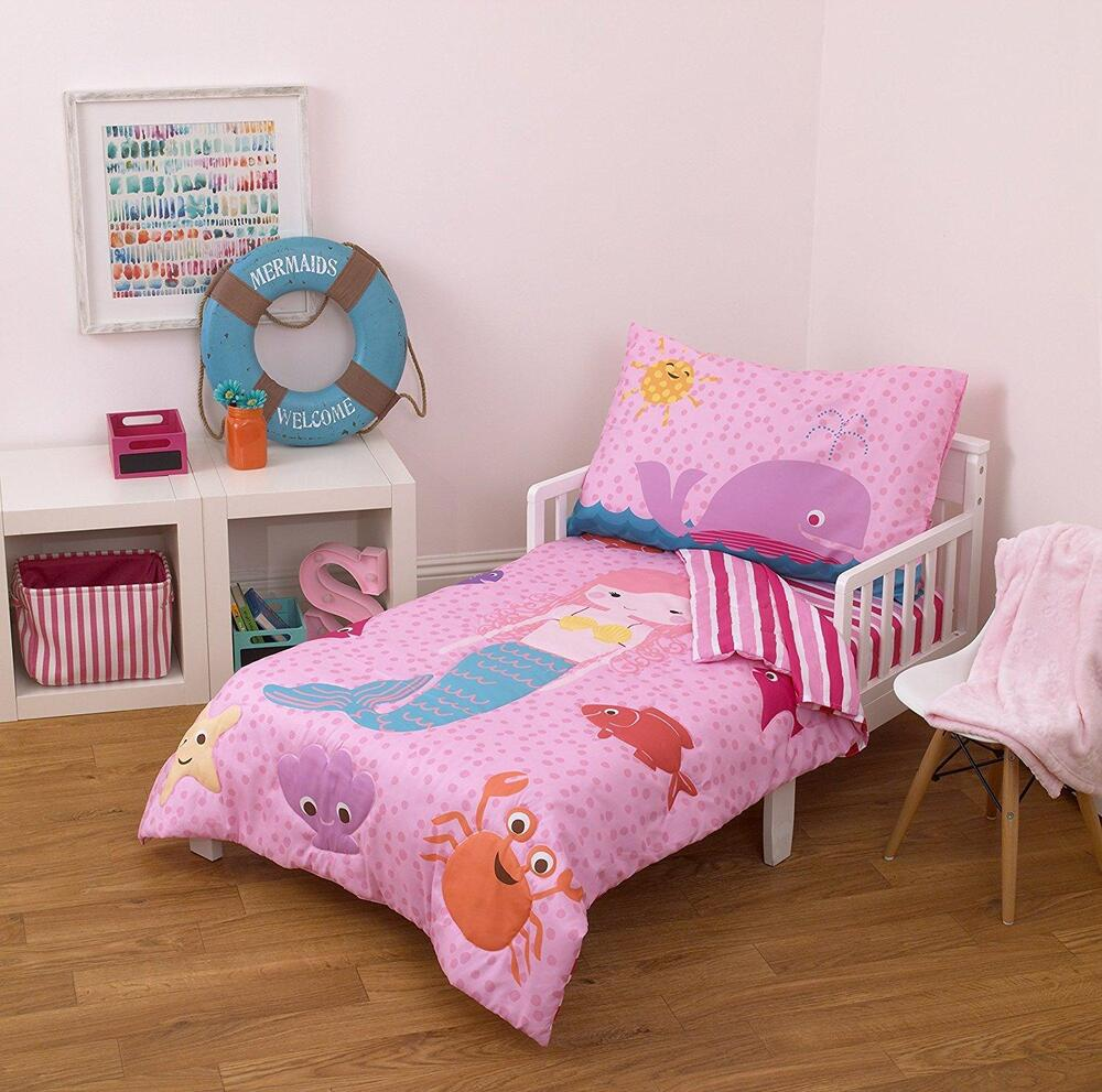 Toddler Bedding Set Mermaid Whale Fish Nautical Pink 4
