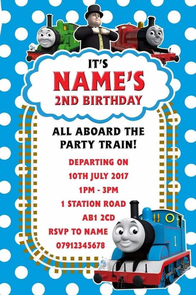 Personalised Thomas Tank Engine Party Invitations And Envelopes X10
