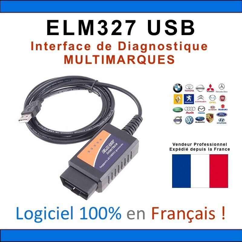 elm 327 obd 2 avec cable usb interface de diagnostique obd ii pour pc logiciel ebay. Black Bedroom Furniture Sets. Home Design Ideas