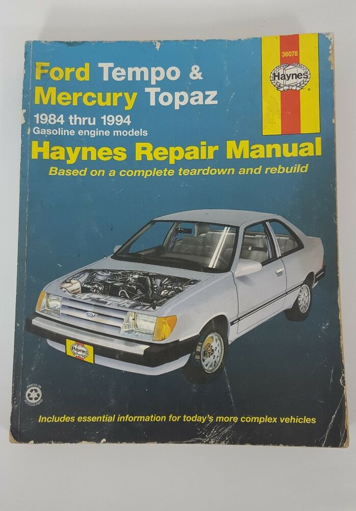 haynes 36078 service repair manual ford tempo mercury topaz 1984 rh m ebay com 1994 Ford Tempo Cruse Was Included 1991 Ford Tempo Starting Problem