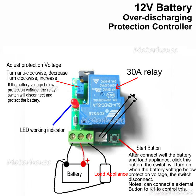 Details About 12v Car Battery Low Voltage Cut Off Switch Controller Excessive Protection Board