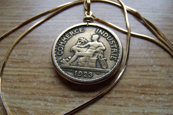 French Deux Franc Brass Bezel Coin Pendant on a 24