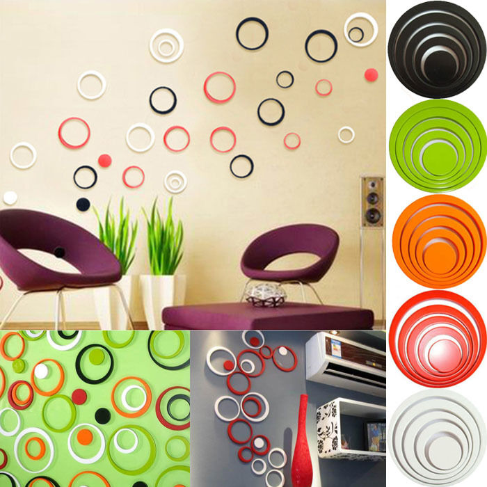 removable 3d diy wall sticker art decals bedroom mural decor circles