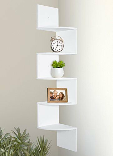 Shelves White Walls And Entry Ways: Greenco 5 Tier Wall Mount Corner Shelves White Finish 646437852937