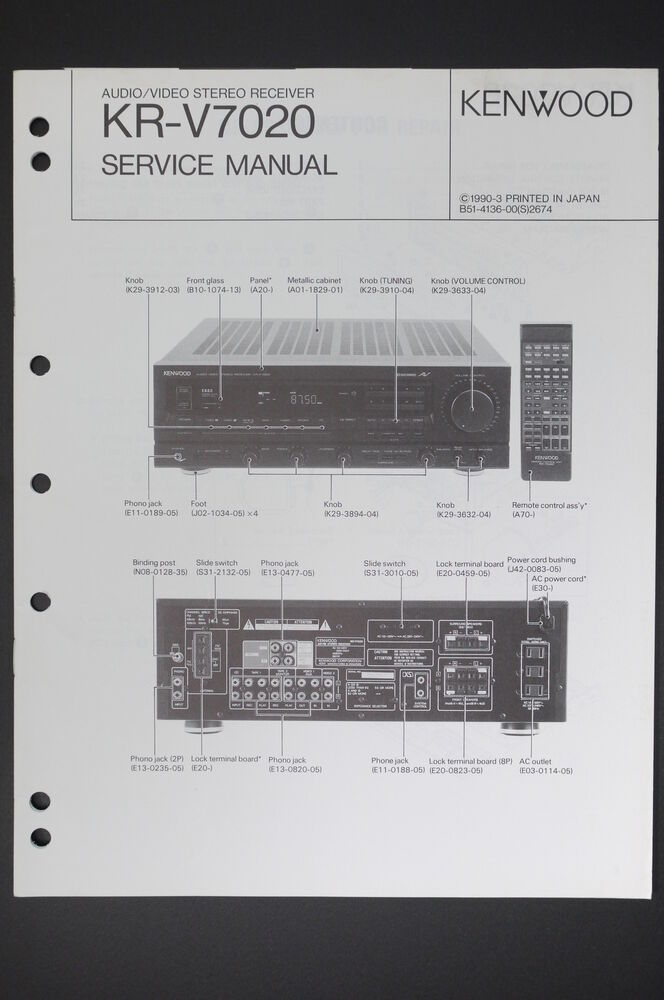kenwood kr v7020 original av stereo receiver service manual wiring rh ebay com W6020 Kenwood Cassette Deck KX Kenwood Receiver Operator Manuals