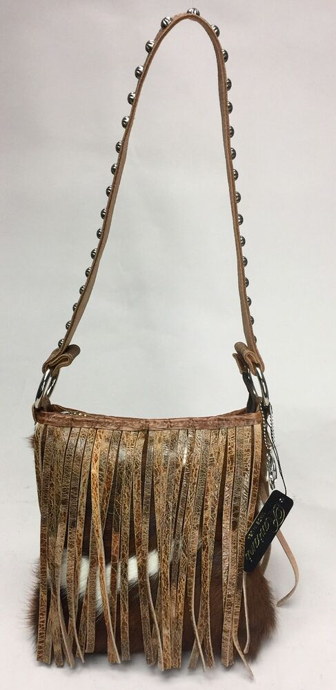 470036792b2e Raviani Brindle Leather Fringe Shoulder Bag With Silver Stud Accents ...