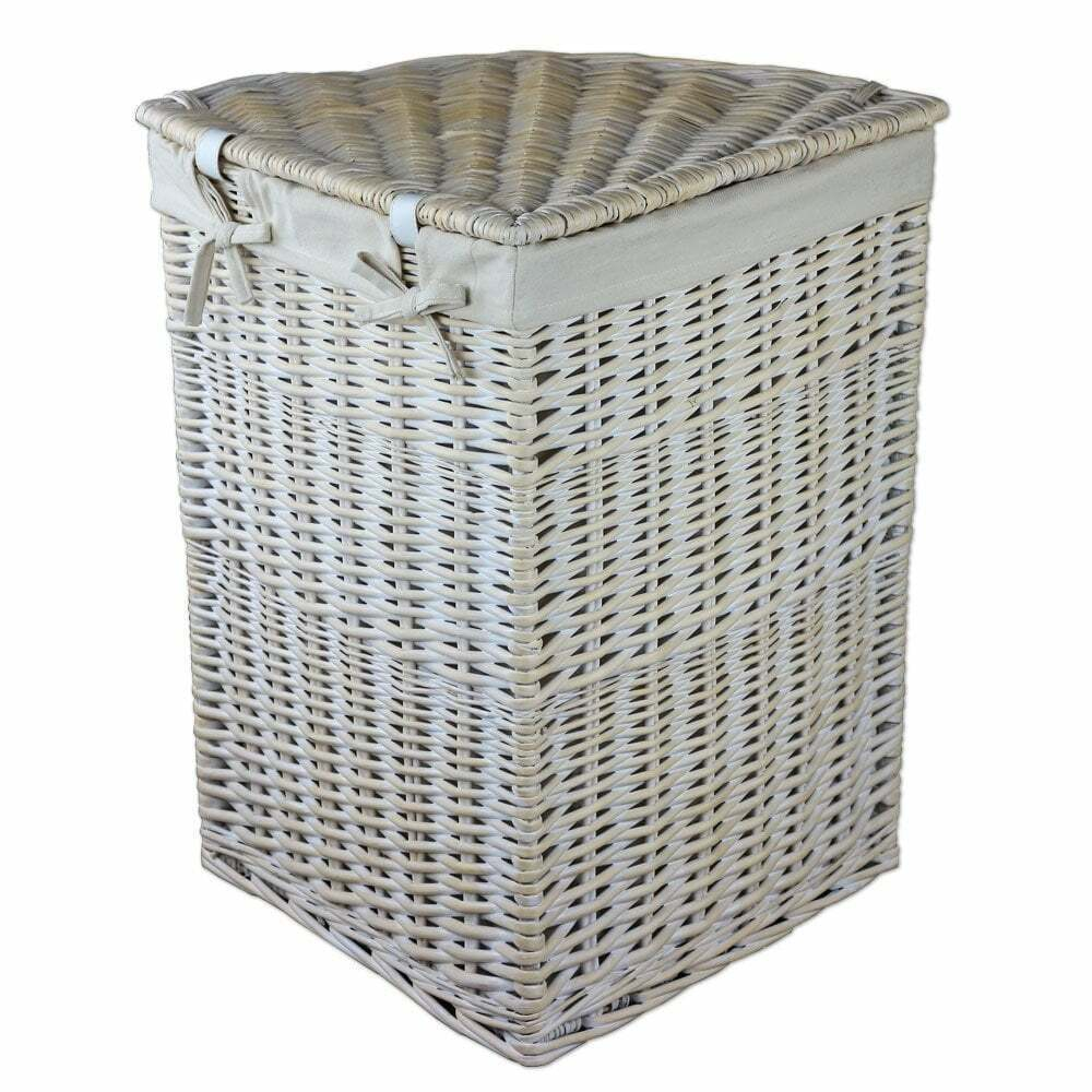 Details About Keswick White Wash Corner Wicker Laundry Basket Linen Lined Washing Bin