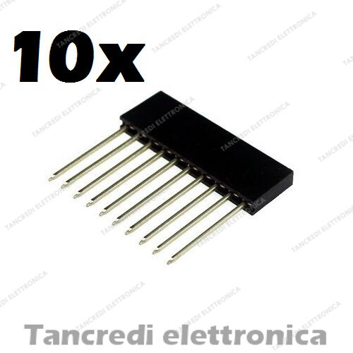10 pz connettori strip line 10 poli femmina LUNGHI ICSP (Arduino-Compatibile)