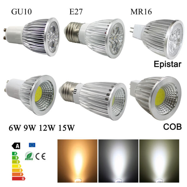 GU10 MR16 E27 LED Lights Spotlight Epistar COB Bulb 9W 12W 15W DC12V AC110V 220V