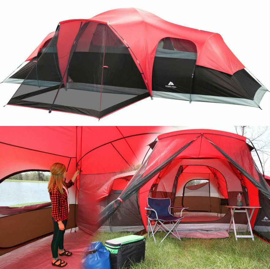 Large tent camping outdoor ozark trail 3 room 10 person - 10 by 10 room ...