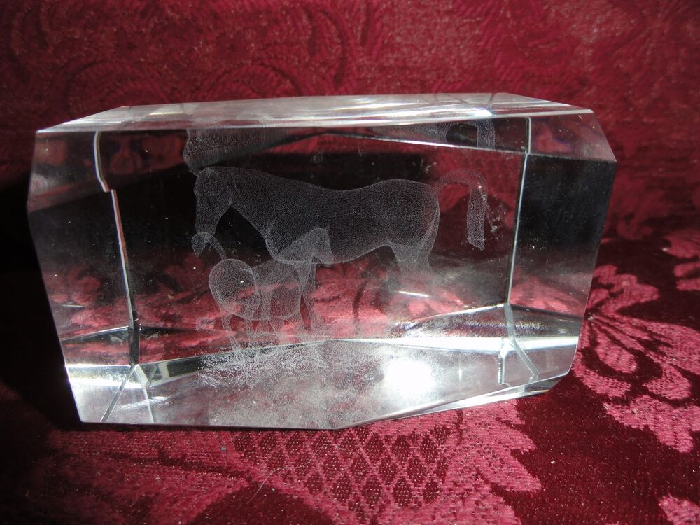 3 D Laser Etched Crystal Glass Paperweight Horses Mare