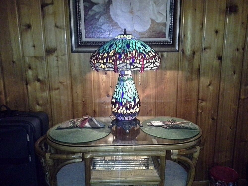 Game Night Glass Tables: TIFFANY STYLE STAINED GLASS DRAGONFLY TABLE LAMP