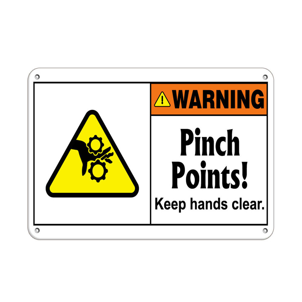 Warning Pinch Points! Keep Hands Clear Hazard Labels
