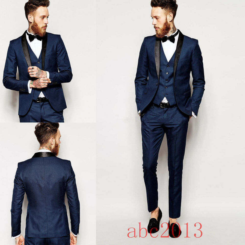 Sute For Formal: Men's Dark Blue Formal 3 PCS Slim Fit Check Retro Suit