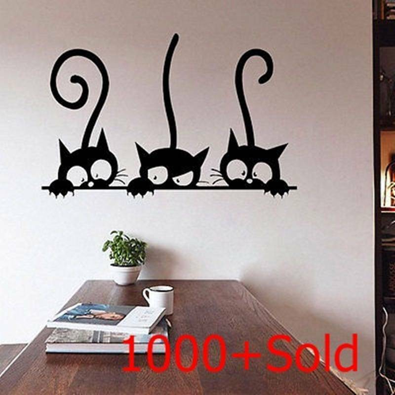 Diy three cats wall stickers removable living room decor - Wall sticker ideas for living room ...