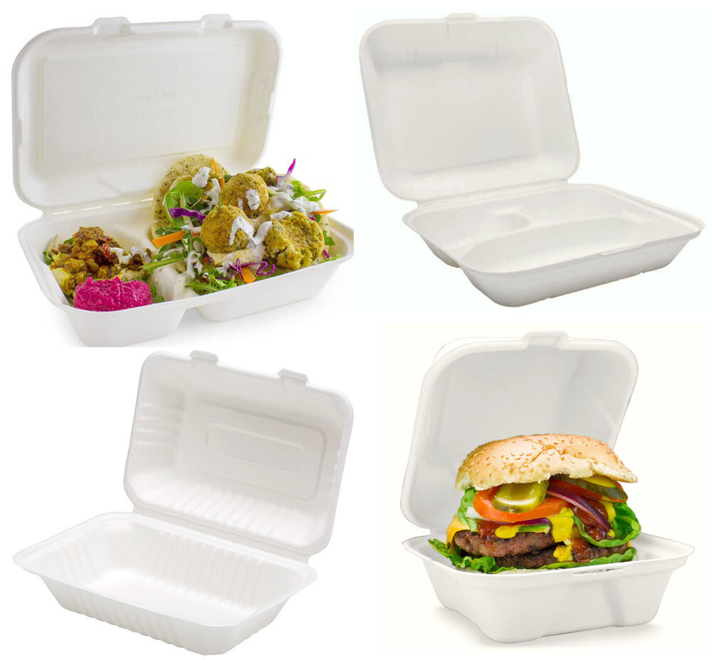 White Biodegradable Bagasse Sugarcane Food Containers