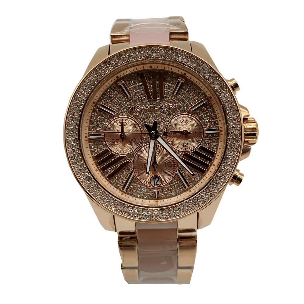 94e116775a3f Details about New Michael Kors MK6096 Wren Rose Gold Blush Chrono Womens  Glitz Stainless Watch