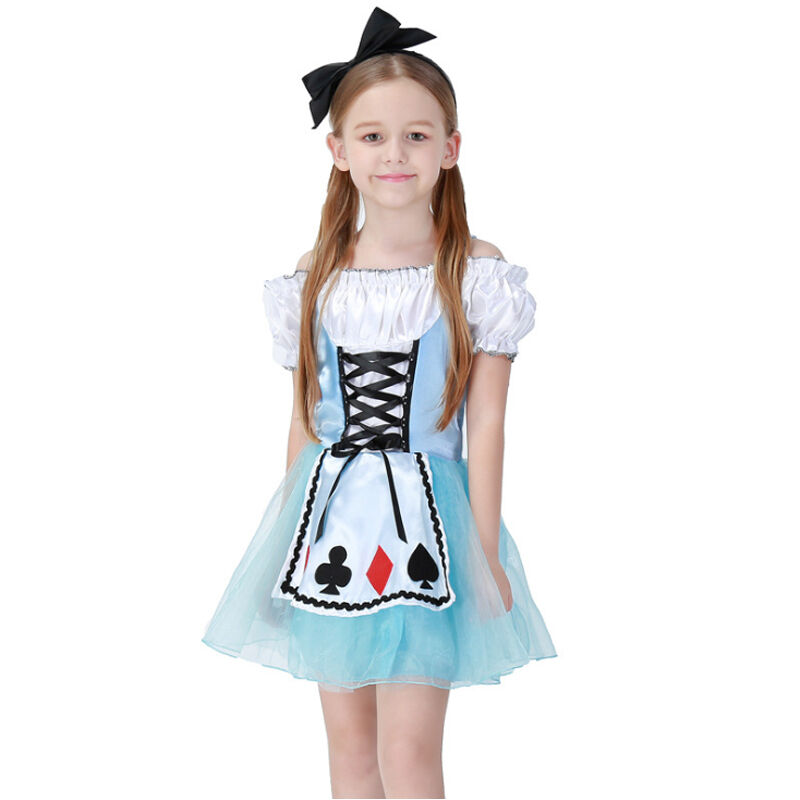 e96b38ca3a9 Details about Alice In Wonderland Lolita Dress For Kids Girls Maid Cosplay  Halloween Costumes