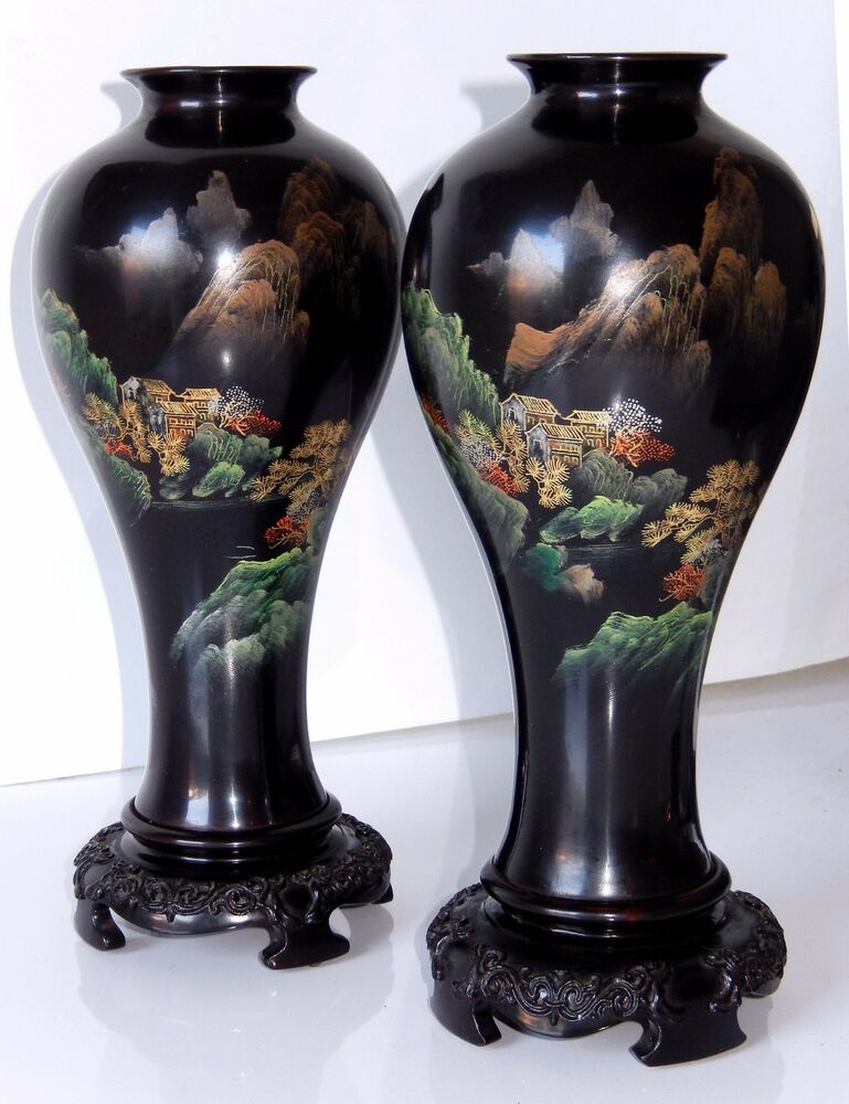 Chinese Lacquer Ware Vase Pair Fuzhou Bodiless Hand Painted Wood
