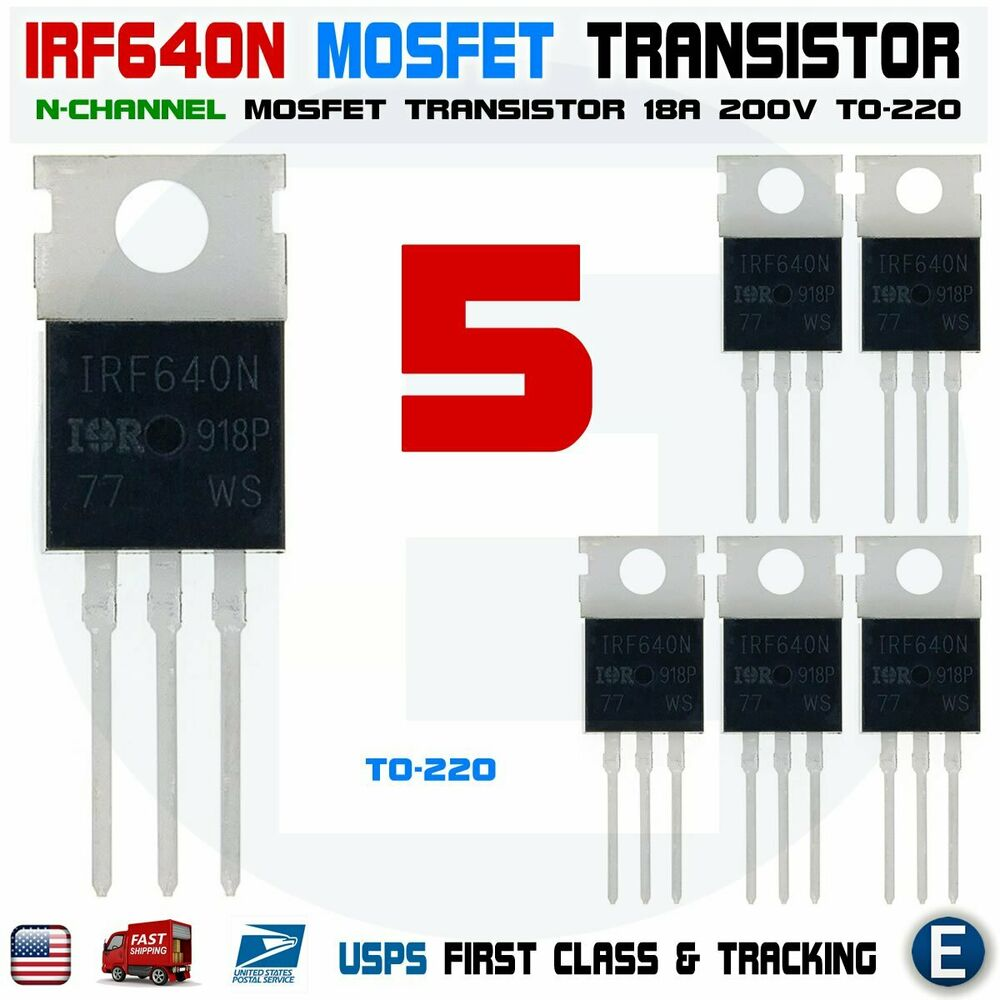 5pcs X Irf640 Irf640n Ir Power Mosfet N Channel 18a 200v Microcontroller Supply Circuit Using Transistor Ebay