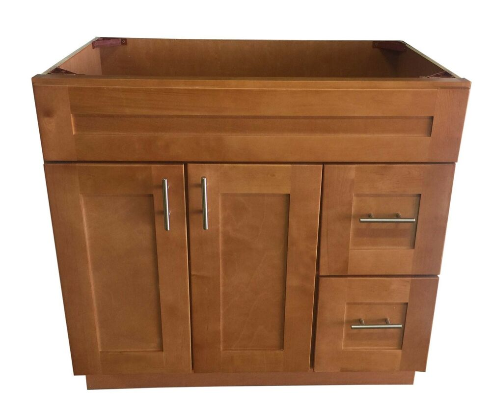 "New Maple Shaker Single-sink Bathroom Vanity Base Cabinet 36"" Wide X 21"" Deep"