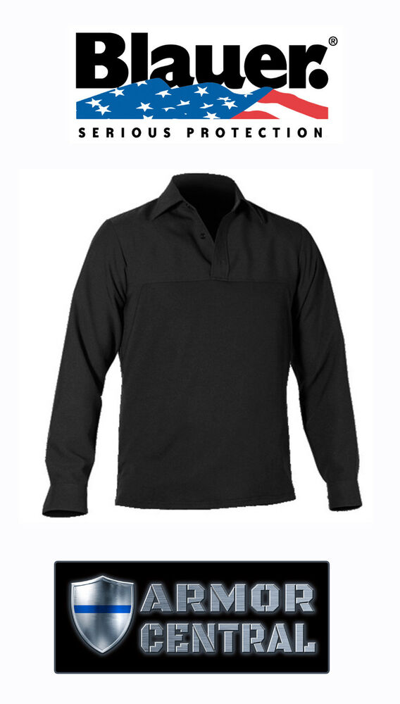 63858bbbebedc Details about Blauer Black Long Sleeve Polyester Armorskin Base Shirt - All  Sizes - 8371