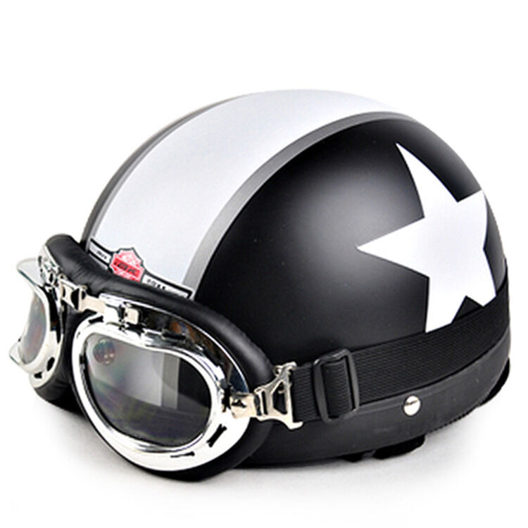 casque vintage bol cromwell noir mat toile moto scooter lunettes style climax ebay. Black Bedroom Furniture Sets. Home Design Ideas