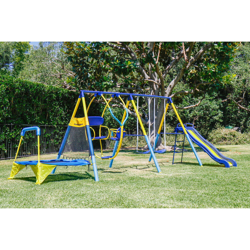 Kids Playground Set Outdoor Swing Slide W/Trampoline