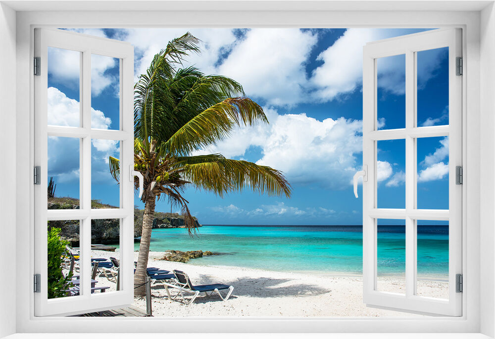 3d wandbild fototapete fensterblick meer strand selbstklebende pvc vlies p 1 ebay. Black Bedroom Furniture Sets. Home Design Ideas
