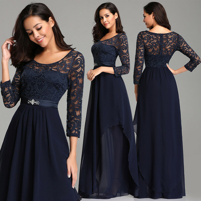 0b1e3dfbe0 Details about Ever-Pretty Plus Size Long Sleeve Formal Dresses Navy Blue  Cocktail Gown 07716