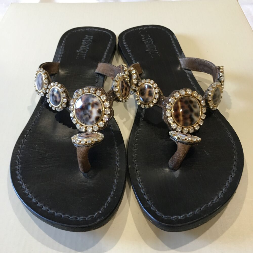12d6d2b31e52e Details about MYSTIQUE TORTOISE SHELL GOLD CRYSTAL JEWELED BROWN LEATHER  THONG FLAT SANDALS 8