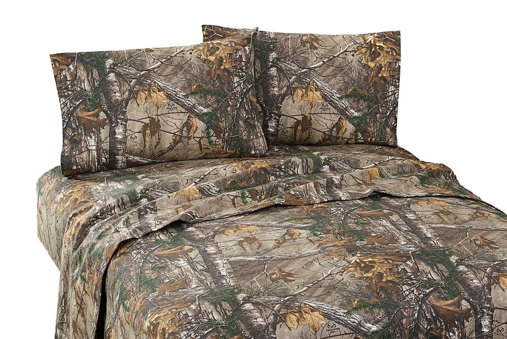 Realtree Xtra Queen Sheet Set Camouflage Percale 4pcs Deer