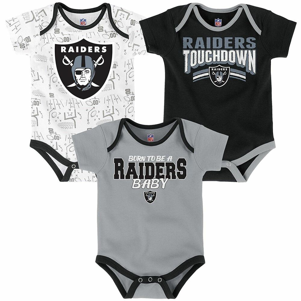 0465fb021 Details about Oakland Raiders Infant 3-Piece Creeper Set Playmaker  Outerstuff NFL Black