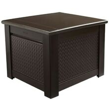 56 Gal. Chic Basket Weave Patio Storage Cube Deck Box Rubbermaid Outdoor Brown