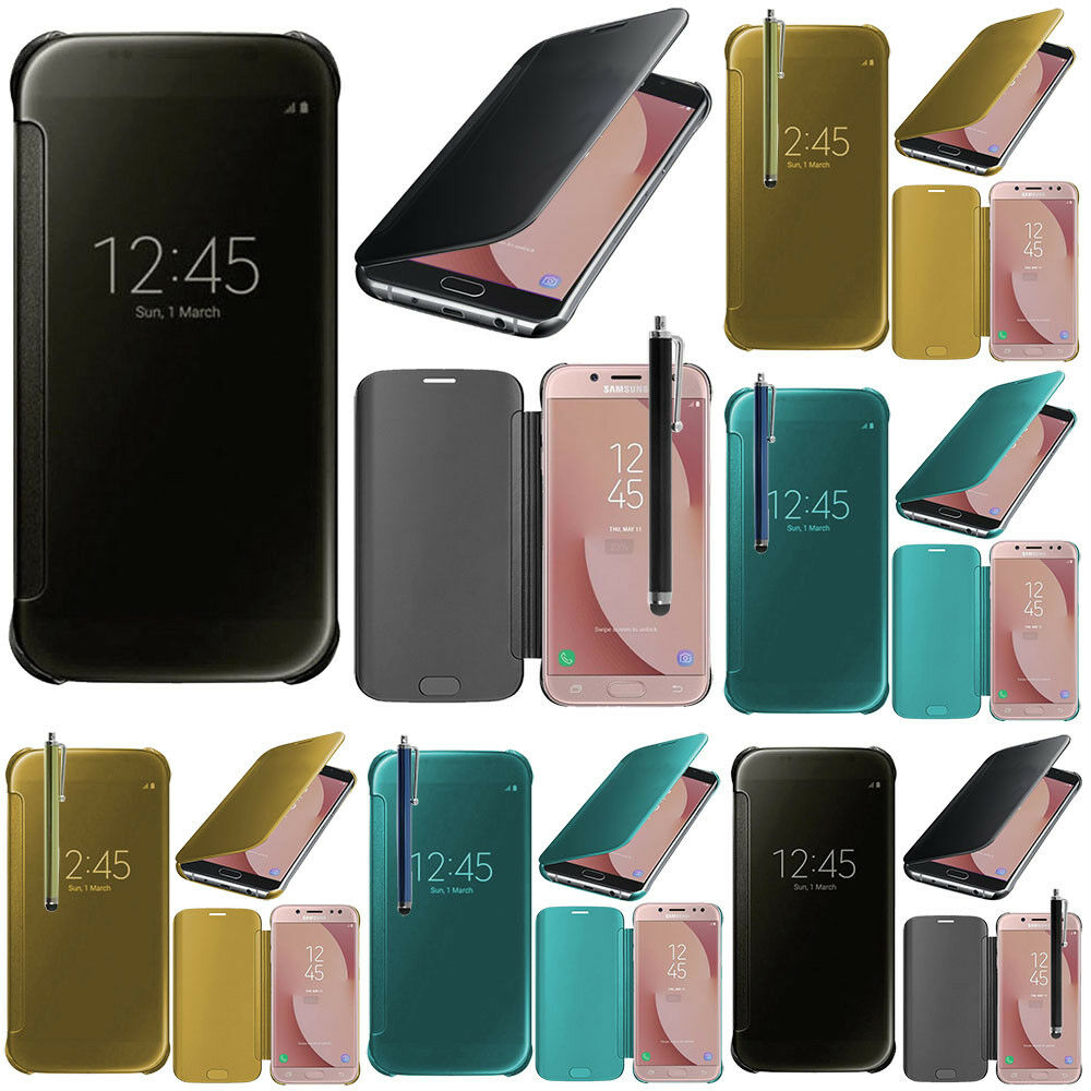 housse coque etui clear view smart cover samsung galaxy j7 2017 sm j730f ds ebay. Black Bedroom Furniture Sets. Home Design Ideas