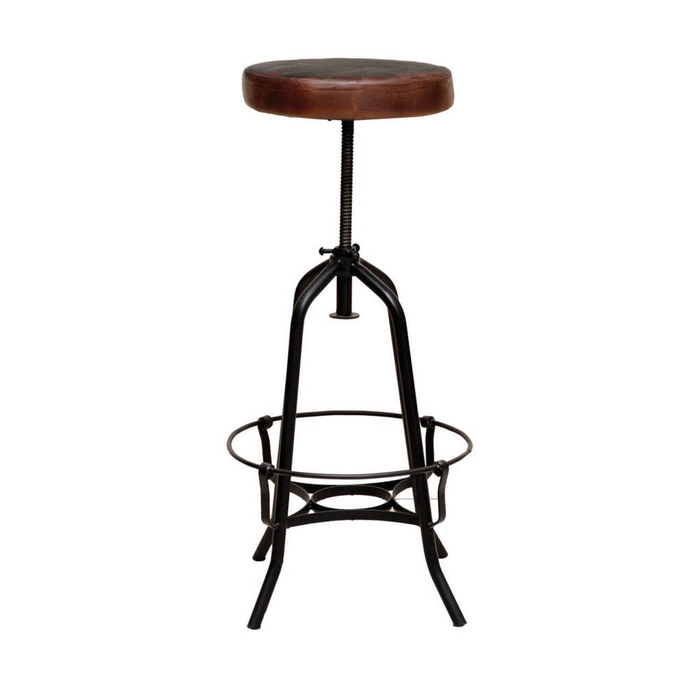 tabouret de bar m tallique assise cuire cardiff ebay. Black Bedroom Furniture Sets. Home Design Ideas