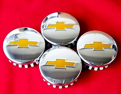 4 Chevy CENTER HUB CAPS POLISHED Tahoe Suburban Silverado 2014-2017 3.25