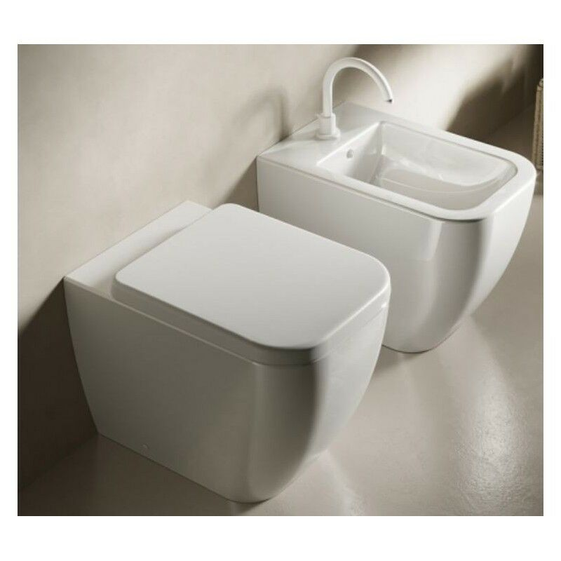 sanit r stand wc toilette sitz hatria bianca modell mit bidet ebay. Black Bedroom Furniture Sets. Home Design Ideas