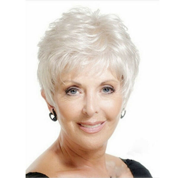 Synthetic Short pixie Wavy Silver White Wig for Elderly Ladies Natural Hair wig