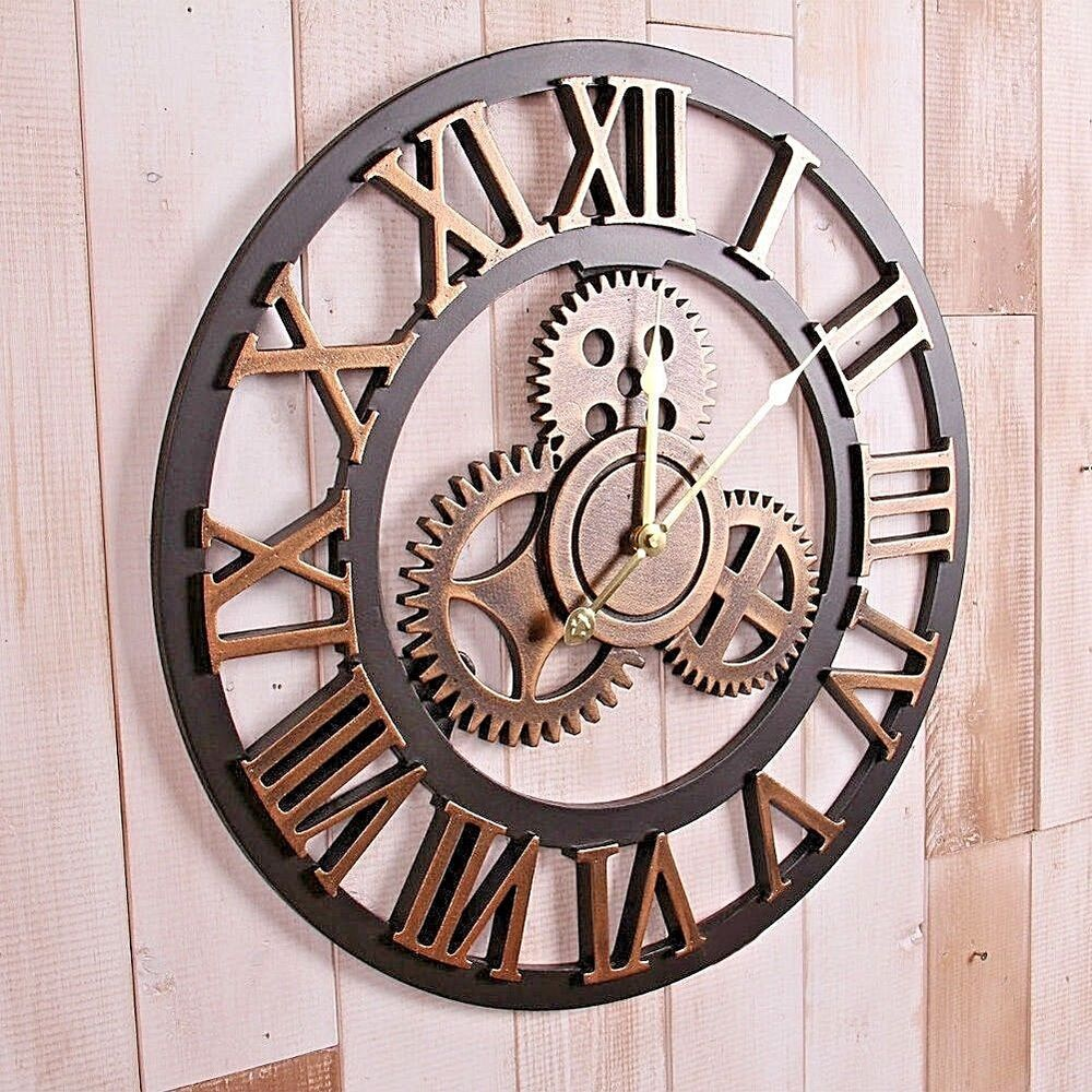 Standard wall decorative clocks ebay handmade clock large gear wall clock vintage rustic wooden luxury art vintage amipublicfo Choice Image