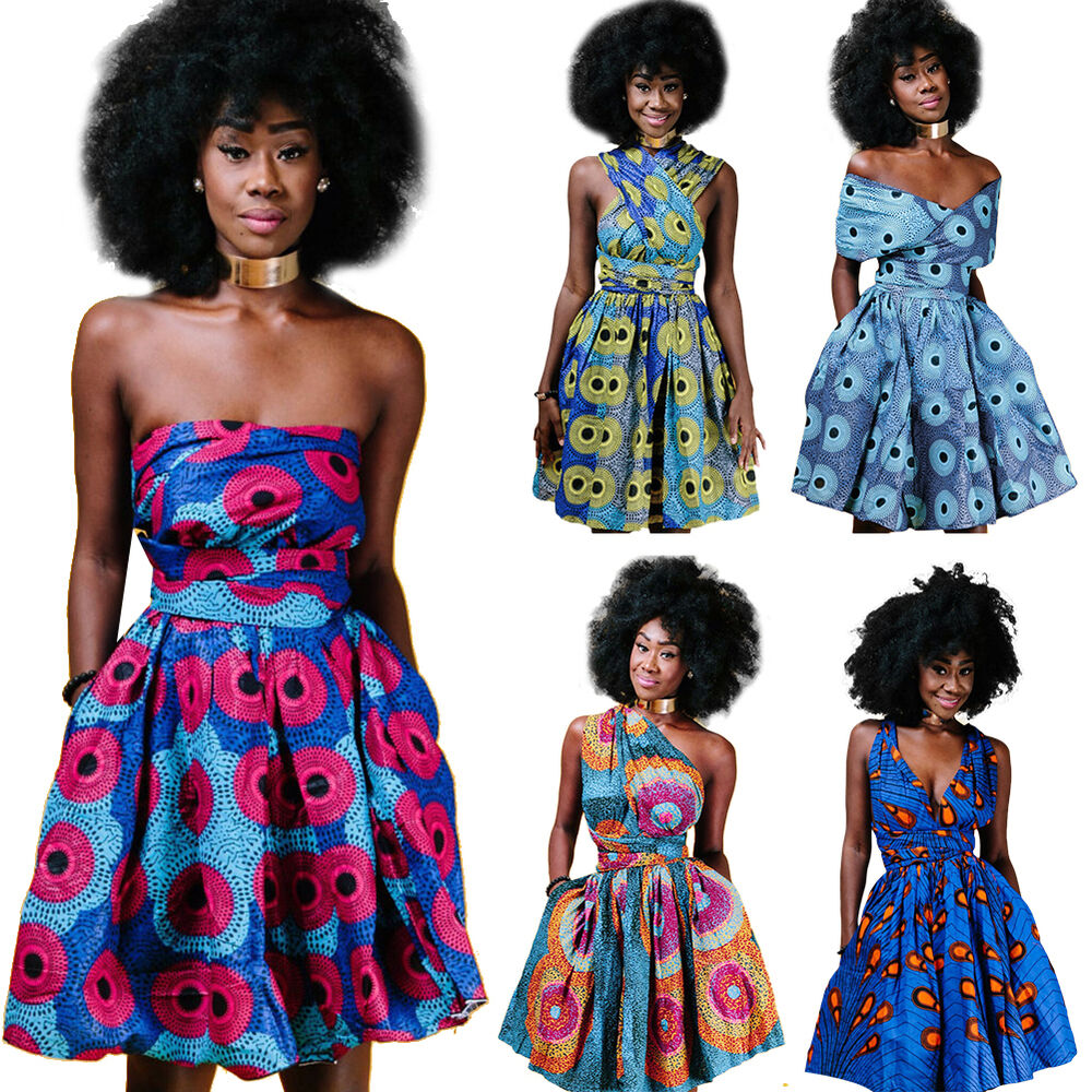 Multi way wrap dress ebay women african print pleated dress convertible multi way wrap party mini dresses ombrellifo Image collections
