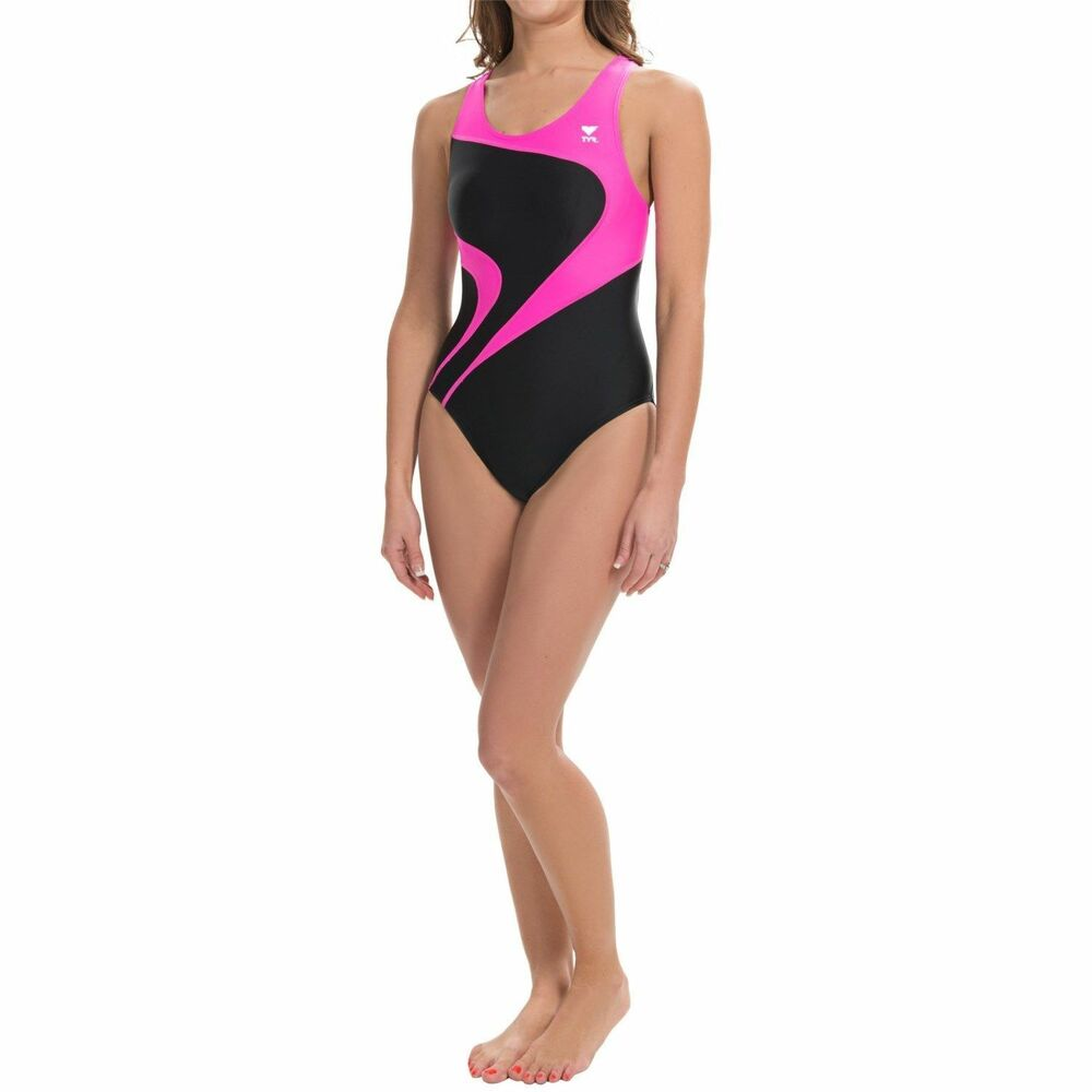 a5e427e45a Details about TYR Alliance T-Splice Maxback Womens Swimsuit Maxfit Size 30  Pink Black $70 NEW