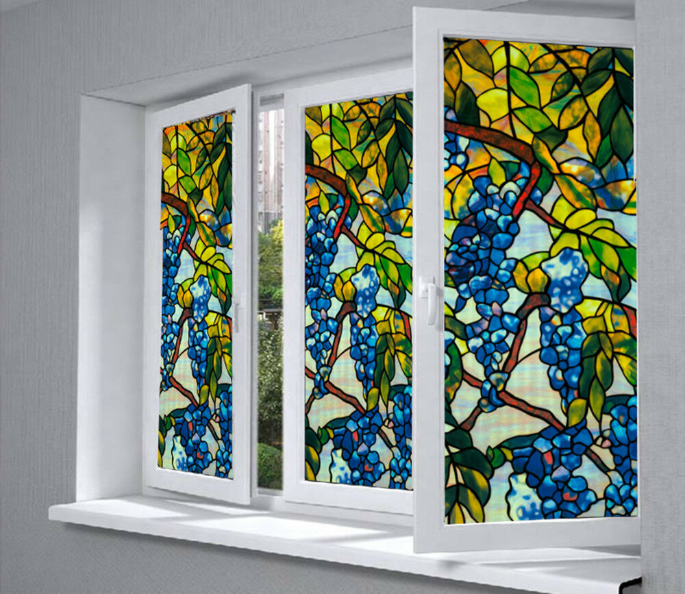 3d static cling frosted floral stained glass sticker for Decorative window film stained glass victorian
